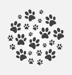 Dark paw prints round dog vector