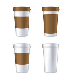 disposable coffee cup template vector image