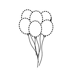 Dotted shape funny balloons decoration design vector