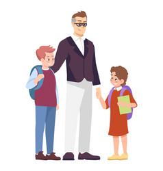 Father with schoolchildren flat parent taking vector