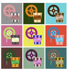 Flat icons set popcorn vector