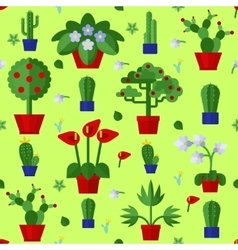 Floral Flat Plants Icons Seamless Pattern vector image