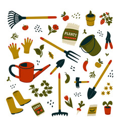 Garden equipment set different types tools vector