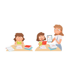 girl studying self education teacher helps vector image