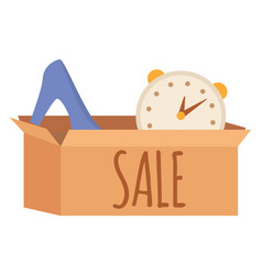 good in cardboard case garage sale store vector image