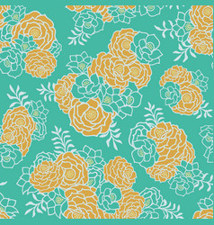green gold floral bouquet seamless texture vector image