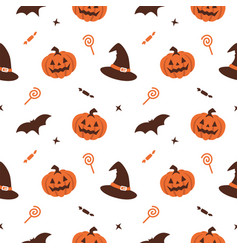 Halloween pumpkin witch hat seamless pattern vector