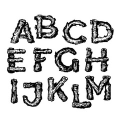 Hand drawn wooden alphabet font vector