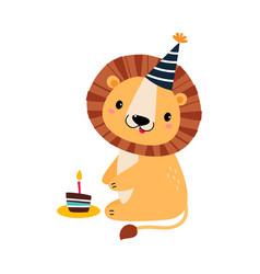 Happy birthday concept adorable lion baanimal vector