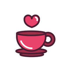Happy valentines day coffee cup heart love vector
