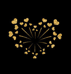 Heart firework gold isolated vector