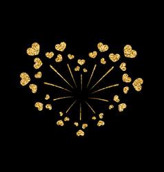 Heart firework gold isolated vector