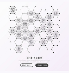 help and care concept in honeycombs vector image