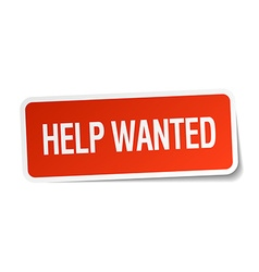 Help wanted red square sticker isolated on white vector