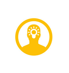 Idea insight icon in circle vector