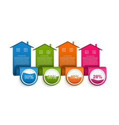 infographics with colorful houses vector image