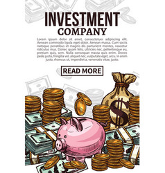 investment poster with money or cash currency vector image