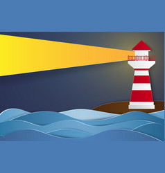 lighthouse at night paper art style vector image