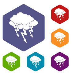 Lightning bolt icons set hexagon vector