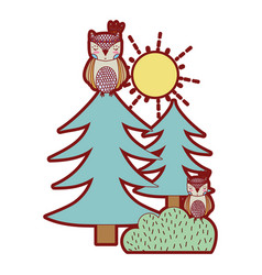 line color ethnic owls animals with pine trees and vector image