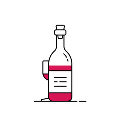 linear wine bottle and glass behind vector image
