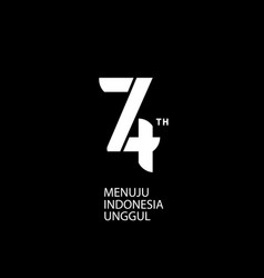 Logo 74th indonesia independence day black bg vector