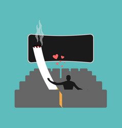Lover smoke man and cigarette in movie smoker vector