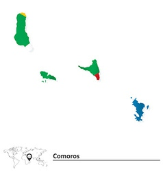 Map of Comoros with flag vector