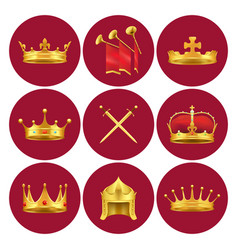 medieval kings attributes in scarlet circles set vector image