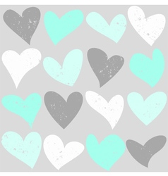 Mint green and grey cute hearts seamless pattern vector image