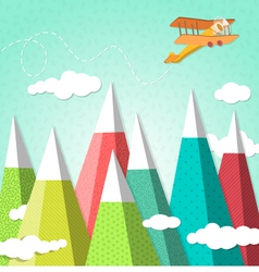 Mountain background with a biplane vector