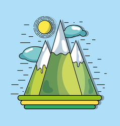 Mountains with sun and clouds to environment vector