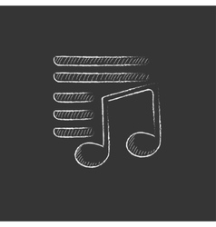 Musical note Drawn in chalk icon vector image