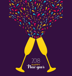 New year 2018 color party drink glass toast card vector