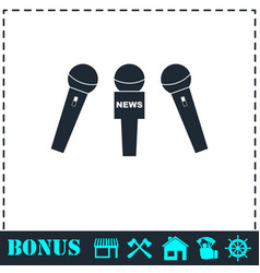 news microphone icon flat vector image