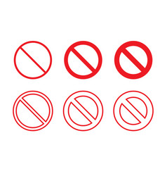 No sign set prohibition icons template with stop vector