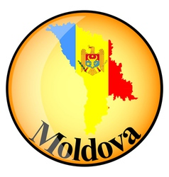 Orange button with the image maps of Moldova vector