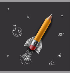 pencil as a rocket flying in the space vector image