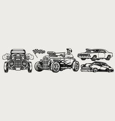 powerful classic custom cars composition vector image