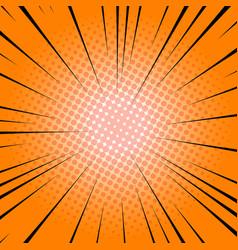 radial lines orange comic book speed explosion vector image