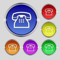 Retro telephone handset icon sign Round symbol on vector
