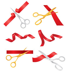 ribbon and scissors - set of objects vector image