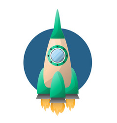 rocket or spaceship flat cartoon icon vector image