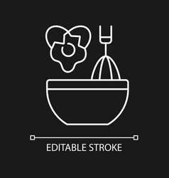 Scramble cooking ingredient white linear icon vector