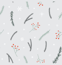 seamless christmas pattern with pine branches vector image