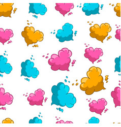 seamless pattern with cute cartoon heart clouds vector image