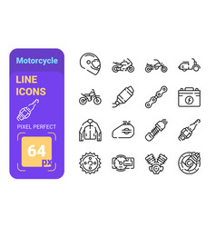 set 64px motorcycle simple lines icons of vector image