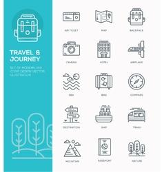 set modern line icon design concept travel vector image