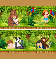 set of children with animals scene vector image