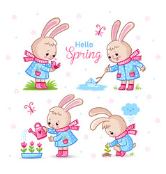 set with cute rabbits on a spring theme vector image